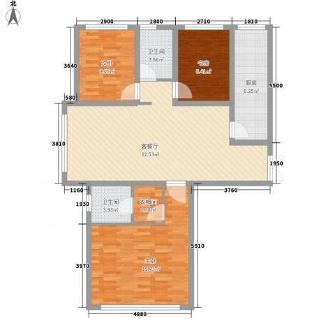 善上居3室1厅2卫1厨87.34㎡户型图