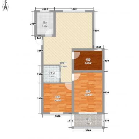 银都花园3室1厅1卫1厨68.34㎡户型图