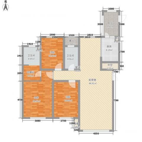 海富第五大道3室0厅2卫1厨118.23㎡户型图