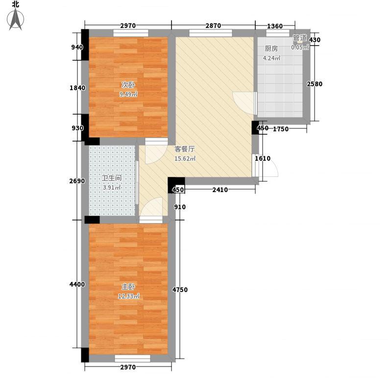 益和国际城67.40㎡清风居C-2户型2室1厅1卫1厨