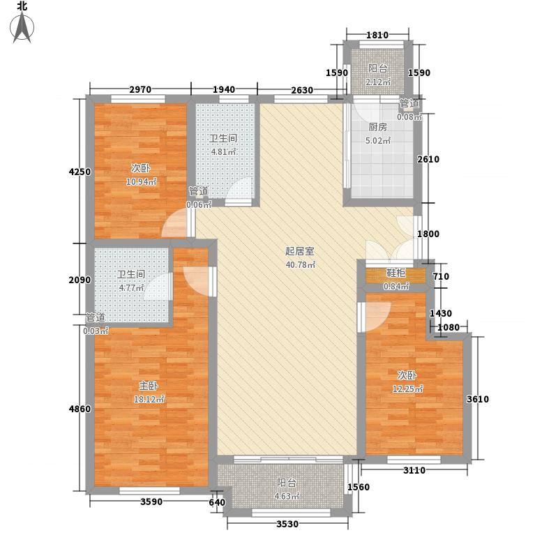 海富第五大道98.76㎡二期多层户型3室2厅2卫1厨