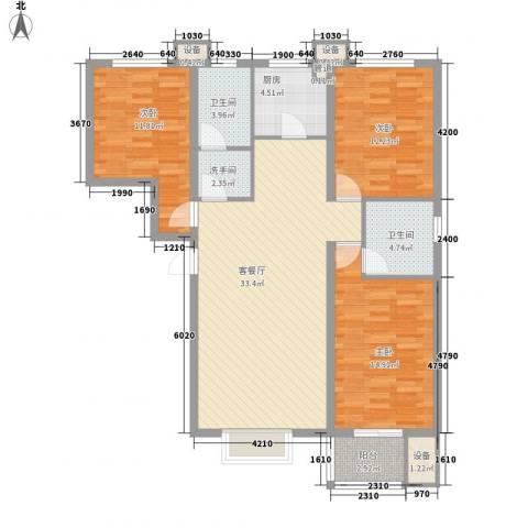 升达置地广场3室1厅2卫1厨136.00㎡户型图