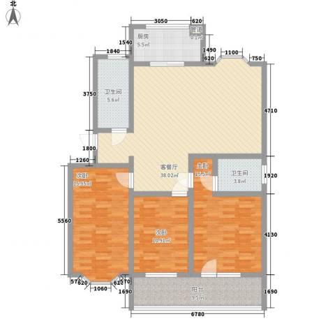 时代新城3室1厅2卫1厨151.00㎡户型图