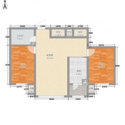 海富第五大道2室0厅1卫1厨77.61㎡户型图