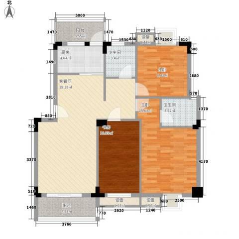 中民阳光城3室1厅2卫1厨85.72㎡户型图