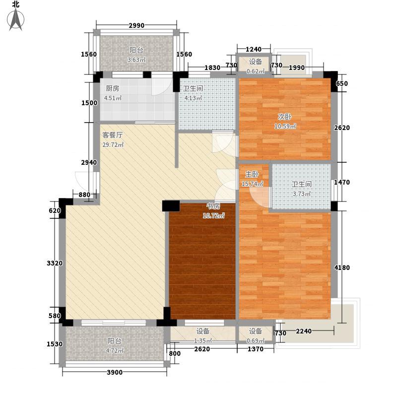 中民阳光城15.43㎡1期1#2#3#C户型3室2厅2卫1厨