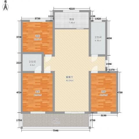 时代新城3室1厅2卫1厨162.00㎡户型图