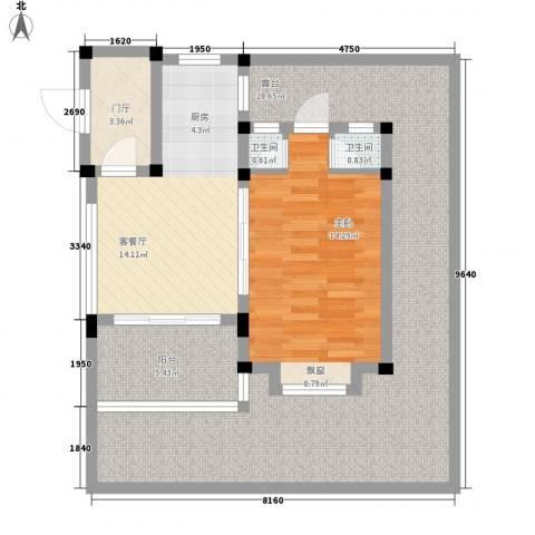 世茂・怒放海1室1厅2卫0厨67.28㎡户型图