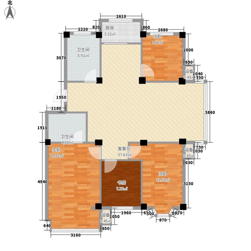 银海绿洲131.80㎡户型4室2厅2卫1厨