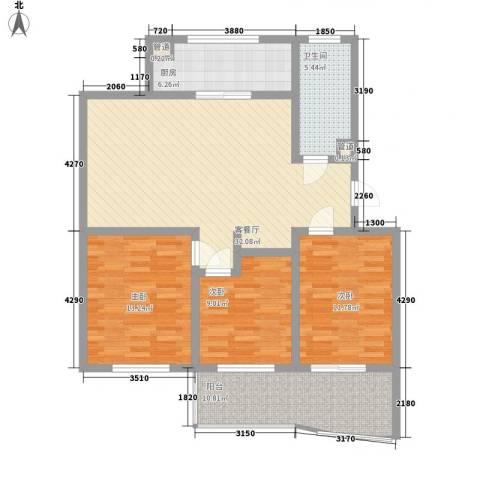 时代新城3室1厅1卫1厨127.00㎡户型图