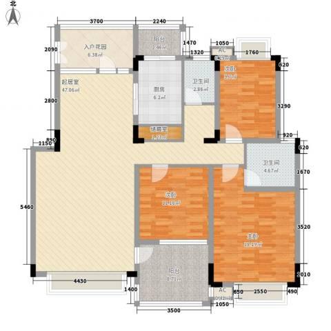 华润澜溪镇3室0厅2卫1厨135.00㎡户型图
