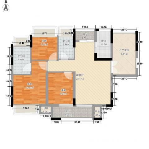 东城中心六期3室1厅2卫1厨123.00㎡户型图