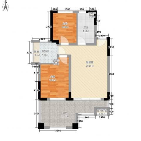 山泉海2室0厅1卫1厨76.00㎡户型图