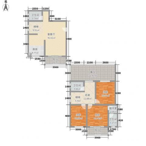 古镇庭苑3室1厅3卫0厨136.11㎡户型图