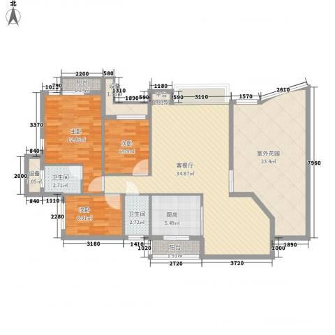 康乐新村3室1厅2卫1厨140.00㎡户型图