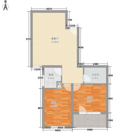 城南秀色2室1厅1卫1厨86.00㎡户型图