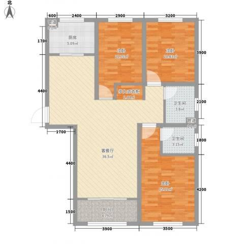 艾博龙园3室1厅2卫1厨129.00㎡户型图