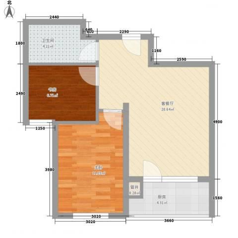 城南秀色2室1厅1卫1厨68.00㎡户型图