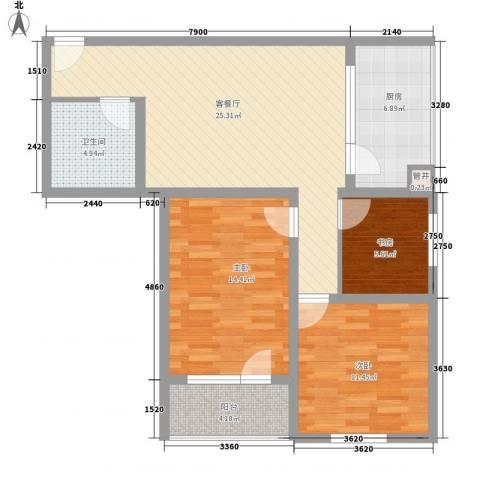 城南秀色3室1厅1卫1厨73.03㎡户型图