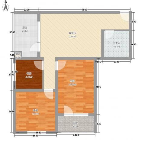 城南秀色3室1厅1卫1厨73.04㎡户型图