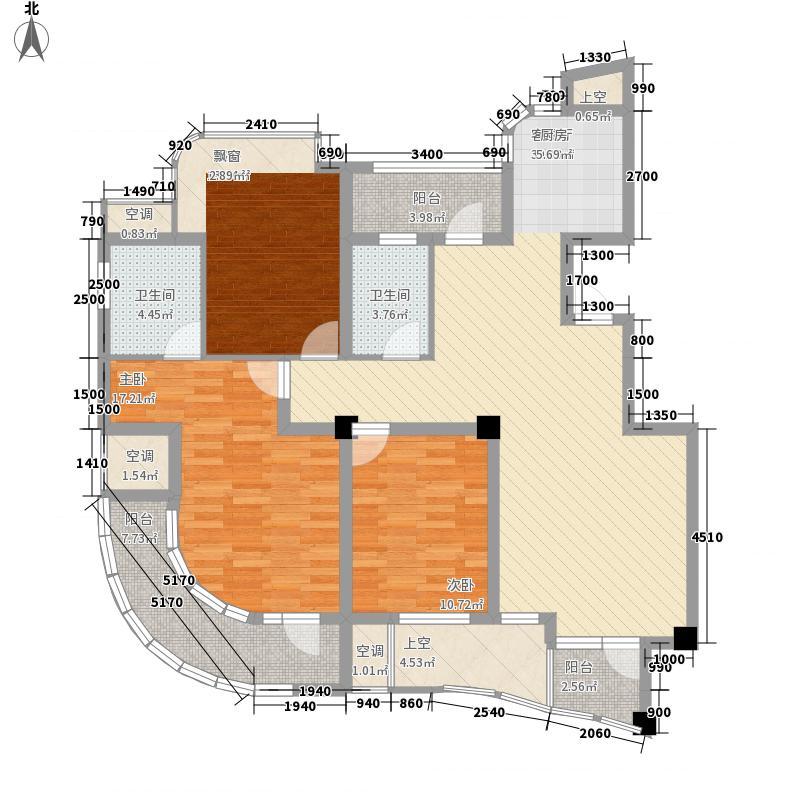 金世纪铭城豪庭126.43㎡B2户型3室2厅2卫1厨