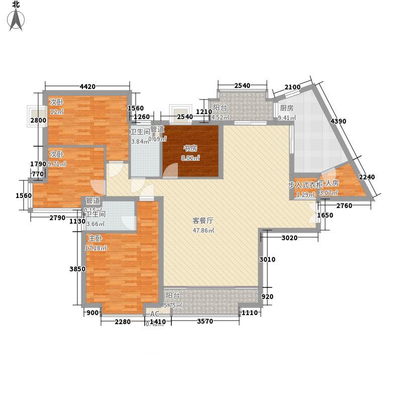 仁恒国际196.00㎡A3楼2号户型5室2厅2卫1厨
