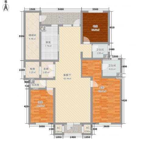 复地哥德堡森林三期墅香洋房3室1厅2卫1厨145.00㎡户型图