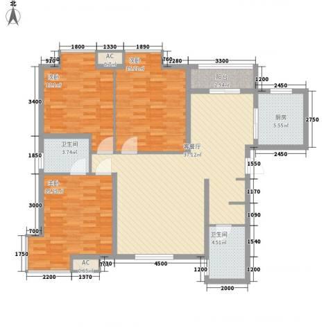 东泰城市之光3室1厅2卫1厨132.00㎡户型图
