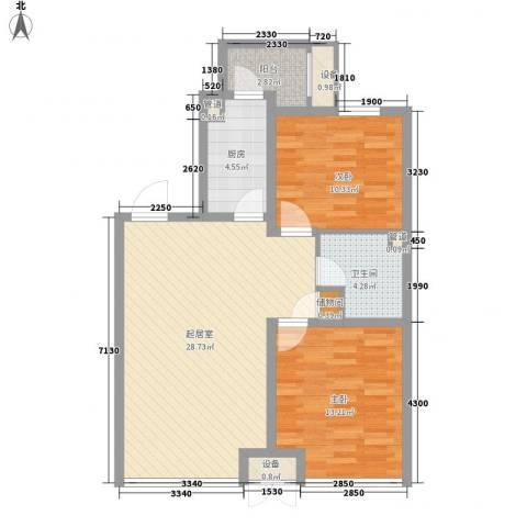 金地滨河国际社区2室0厅1卫1厨97.00㎡户型图
