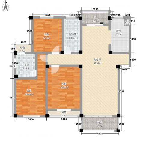 高新二路物业宿舍3室1厅2卫0厨118.00㎡户型图