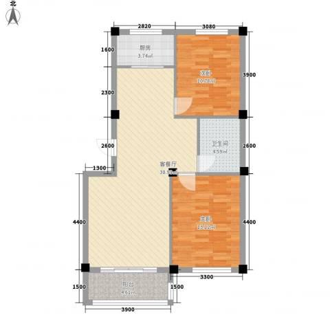 东方名城2室1厅1卫1厨95.00㎡户型图