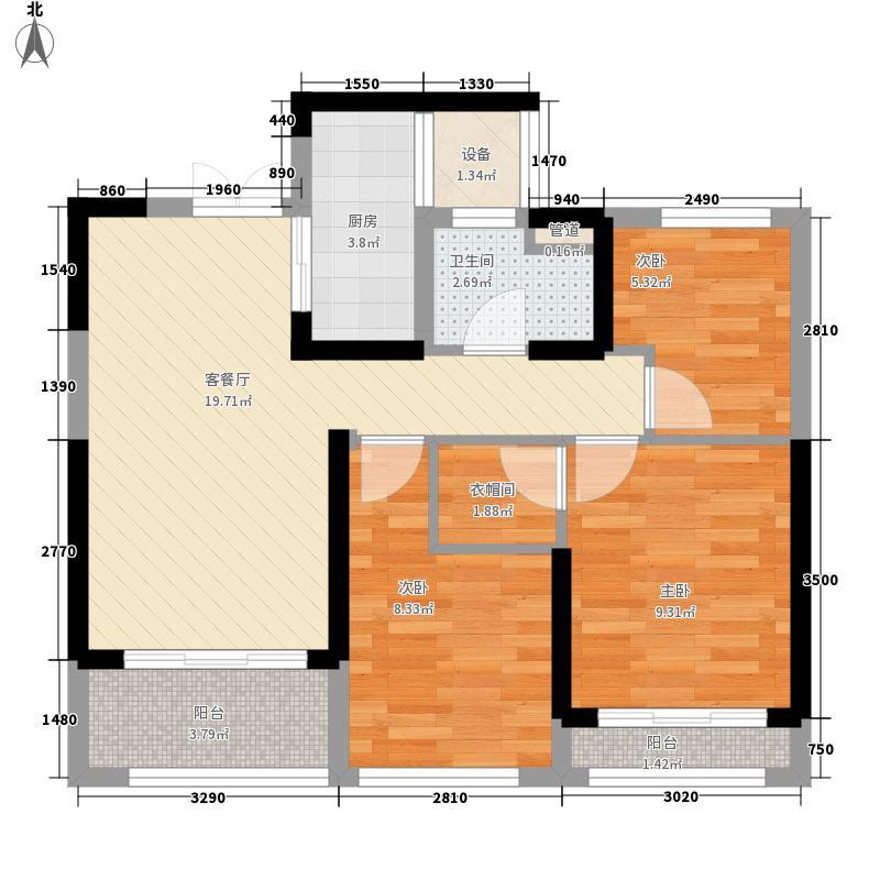 佳兆业城市广场项目87.00㎡一期标准层B户型3室2厅1卫1厨