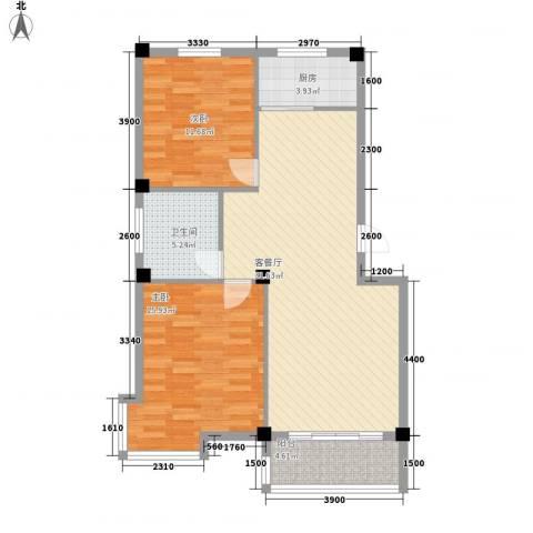 东方名城2室1厅1卫1厨102.00㎡户型图