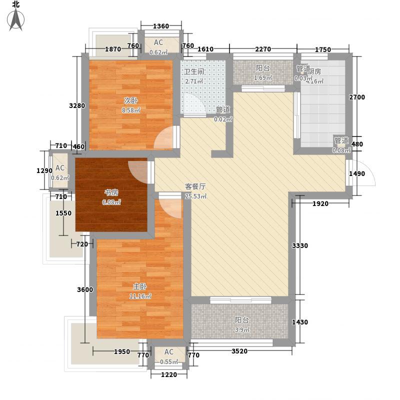 绿地滨湖国际花都99.00㎡绿地滨湖国际花都户型图二期1-5#S3户型3室2厅1卫1厨户型3室2厅1卫1厨