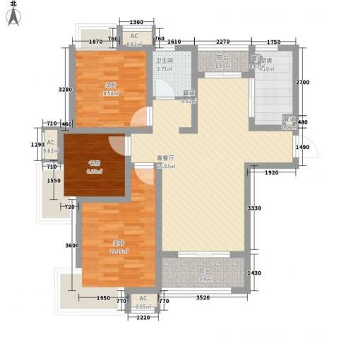 绿地滨湖国际花都3室1厅1卫1厨99.00㎡户型图