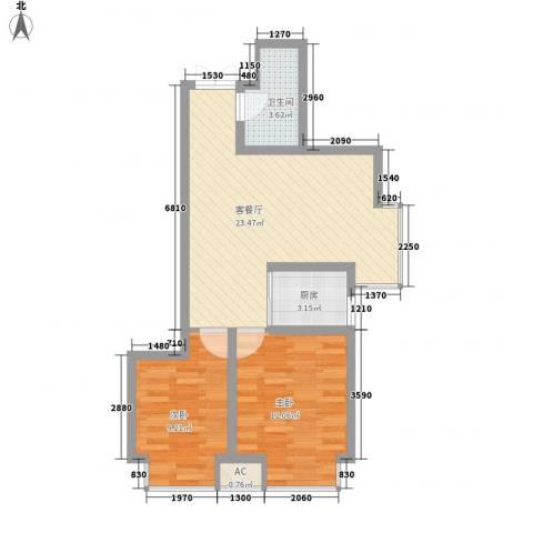 城南秀色2室1厅1卫1厨74.00㎡户型图