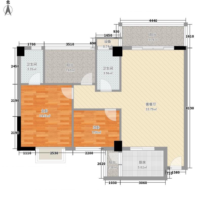 狮山阳光嘉园户型图5座03、04户型 2室2厅2卫1厨