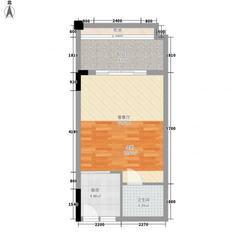 东方蓝城一号1厅1卫1厨44.02㎡户型图