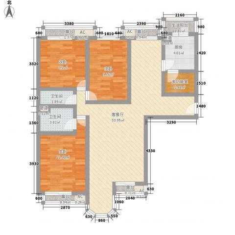 学院路房管局宿舍3室1厅2卫1厨123.00㎡户型图