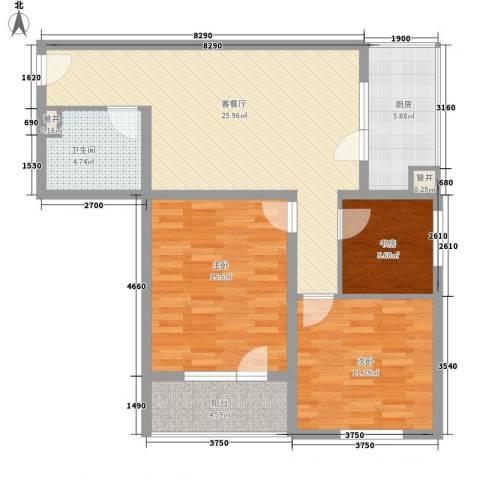 城南秀色3室1厅1卫1厨74.58㎡户型图