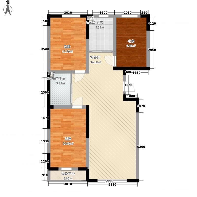 益和国际城二期25#28#楼E1户型3室2厅1卫1厨