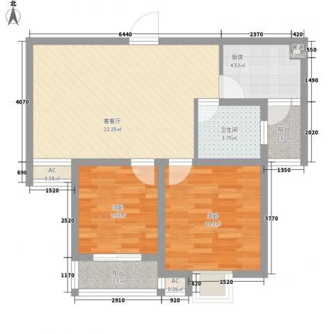 恒邦幸福里2室1厅1卫1厨81.00㎡户型图