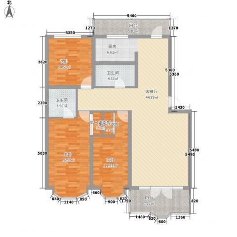 欧美亚世界阳光3室1厅2卫0厨106.85㎡户型图