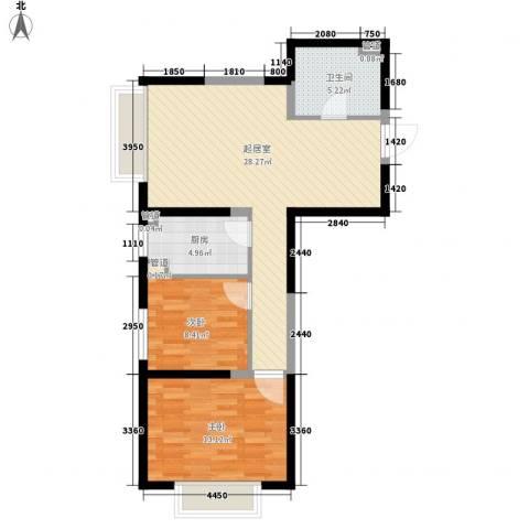 金地滨河国际社区2室0厅1卫1厨84.00㎡户型图