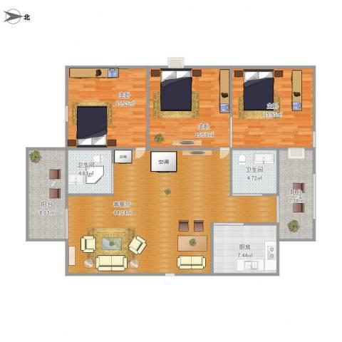 丽日玫瑰三区五座3室1厅2卫1厨164.00㎡户型图