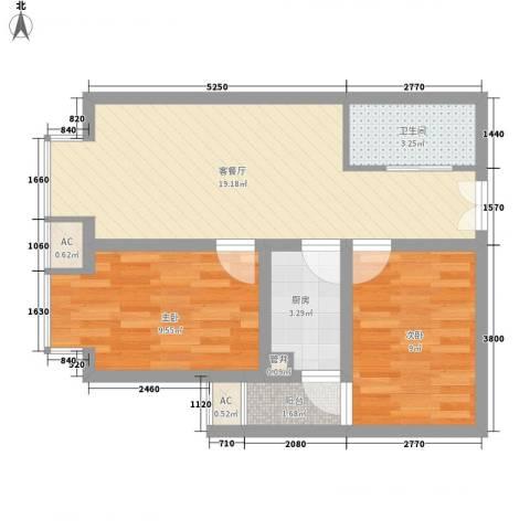 城南秀色2室1厅1卫1厨47.18㎡户型图