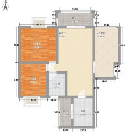 世隆华都2室1厅1卫1厨100.00㎡户型图