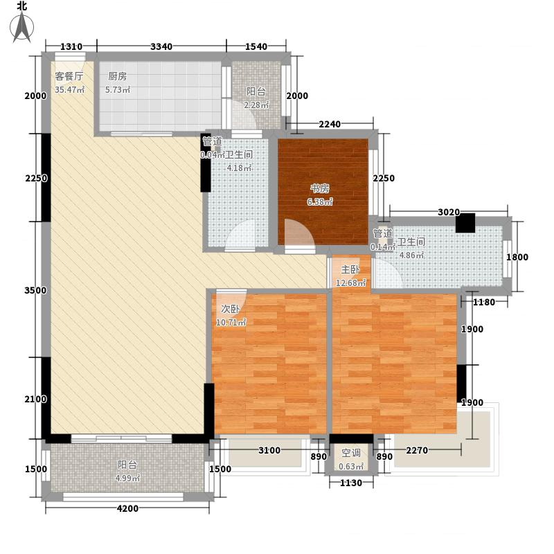 钜隆风度盛荟广场115.21㎡2栋03单元户型3室2厅2卫1厨