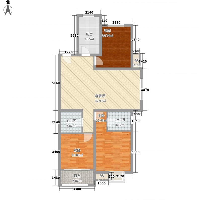 易安明郡124.00㎡易安明郡户型图3#A户型3室2厅1卫1厨户型3室2厅1卫1厨