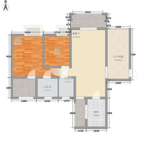 世隆华都2室1厅2卫1厨113.00㎡户型图